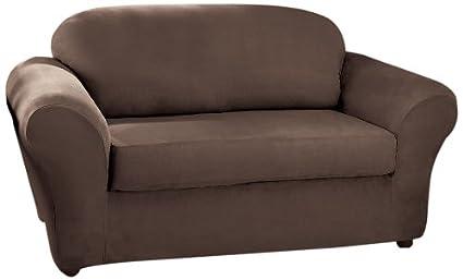 Amazon Com Sure Fit Stretch Suede Sofa Slipcover Chocolate