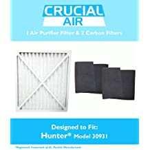 1 Hunter 30201, 30212, 30213, 30240 & 30241 Air Purifier Filter & 2 Carbon Pre Filters, Part # 30931, 30901, 30903, 30907, 30958 & 30959, Designed & Engineered by Crucial Air