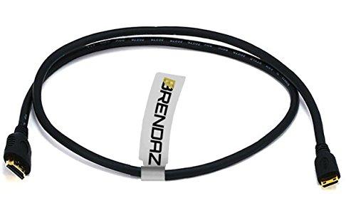 S20 Connector - BRENDAZ Mini HDMI AV Cable High Speed - HDMI (A) with Mini HDMI Connector (C) - for Connecting Canon Camcorders & EOS DSLR Cameras to a TV or Monitor, 3-feet.