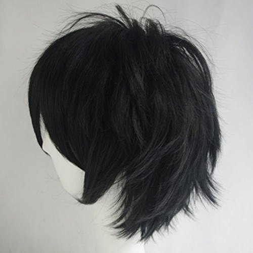 Women Mens Short Fluffy Straight Hair Wigs Anime Cosplay Party Dress Costume Wig (Black)