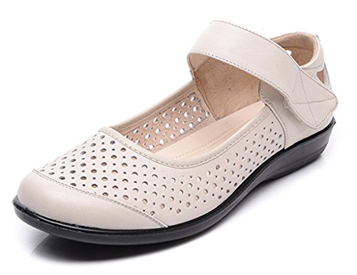 Sandals ZCJB Summer Non-slip Soft Bottom For The Elderly Women's Shoes Flat With Flat Bottom Old Lady Leather Shoes Middle-aged Mom Shoes (Color : Off white, Size : 39) Off White
