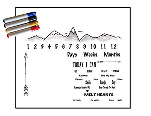 Milestone Blanket Set with Washable Markers by Mammy Stork - Unusual Reusable Photography Backdrop to Capture Your Baby's Growth - Draw On, Take a Picture, Wash, and Draw Over Daily Weekly Monthly