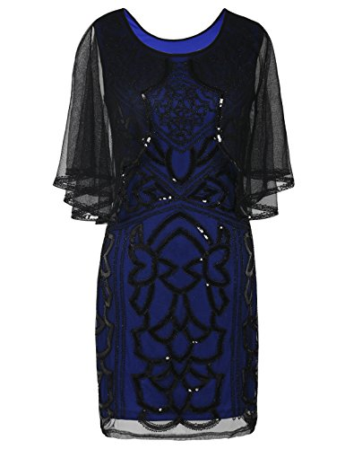 PrettyGuide Women's Flapper Dress 1920s Gatsby Inspired Sequin Art Deco with Cape XL Black (Capelet Dress)