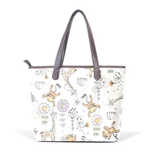 Giraffe Monkey Tote Women's Leather Monkey Handbags Tote Doodle Giraffe Babies Women's Handbags PU Babies Doodle xqxSwTA4