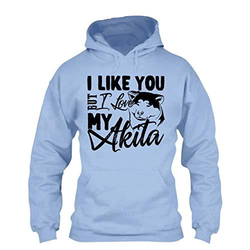- I Love My Akita Hoodies, Long Hoodie, Pullover Hoodie Blue,L