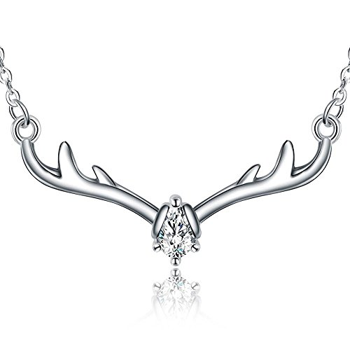 925 Sterling Silver Crystal Christmas Antler Statement Pendant Deer Necklace Jewelry for (Womens Deer)