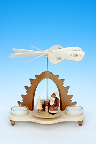 1-tier German Christmas Pyramid Santa Claus natural - 18,5cm / 7inch - Christian Ulbricht