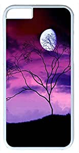 Artistic Night Scenery of a Gibbous Moon in Sky Customized Hard Shell White iphone 6 Case By Custom Service Your Perfect Choice