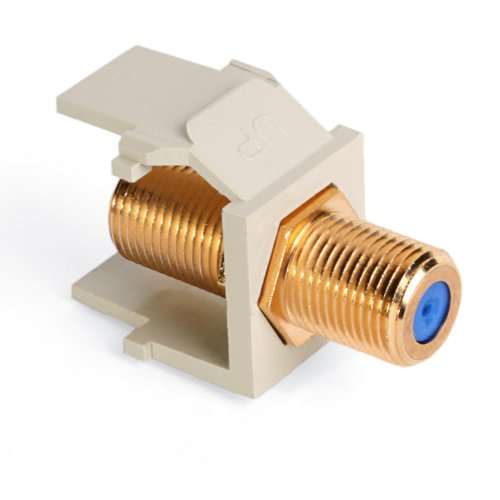 Leviton 40831-BI QuickPort F-Type Adapter, Gold-Plated, (Terminator Cable Data Cable)