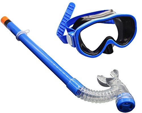 Hardking Kids Youth Junior Silicone Scuba Swimming Diving Mask Snorkel Glasses Anti Fog Goggles Set (Blue)