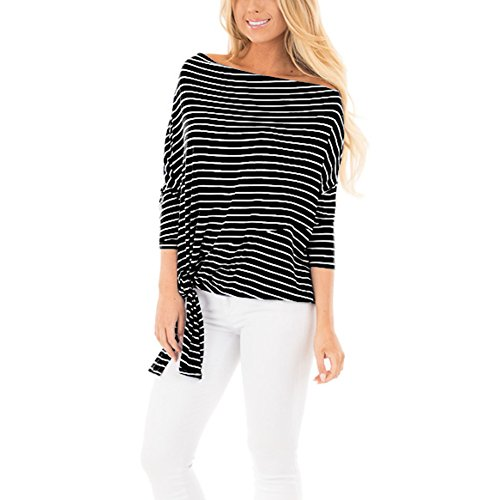 EverChic Womens Striped Off Shoulder 3/4 Sleeves Dolman Top With Tie Detail (XL, ()