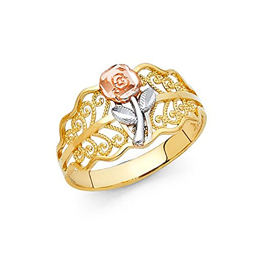 - American Set Co. 14K Tri-Color Gold Diamond-Cut Flower Filigree Ring