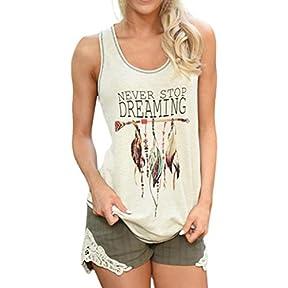 Women Tops, Kaifongfu Feather Sleeveless Shirts Casual Blouse Tank T-Shirt