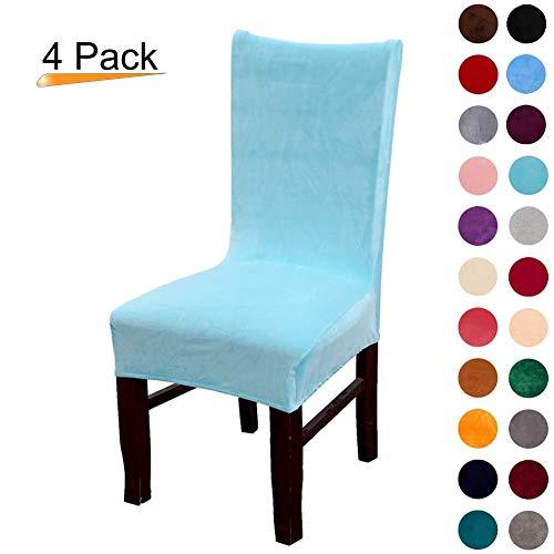 Freedconne - Fundas para silla de comedor, de terciopelo y elastano Pack de 4 Azul Lago