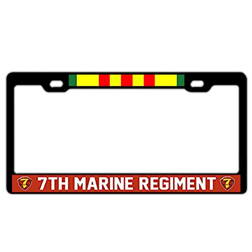 (XYcustomBest Marine Corps License Plate Frame | 7th Marine Regiment Vietnam Veteran | Tag License Plate Cover for Front/Back Vehicle | 100% Guaranteed Durability)