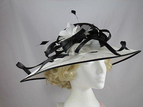 Cappello Hawkins Eventi Collection Nero Brim Down bianco matrimonio xgxXUw