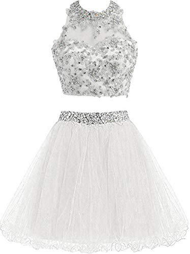 Cute Dress For Teenagers (Chupeng Cute Lace Homecoming Dress Two Piece Prom Dress for Teens Ball Gown Bridesmaid Dresses Applique Ivory)