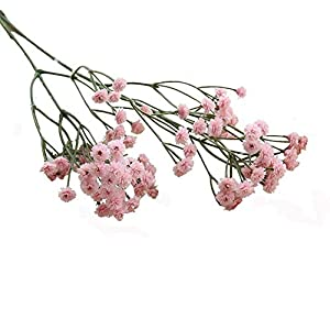 MARJON FlowersArtificial Silk Fake Flowers Gypsophila Baby Breath Bouquets Decorative Flowers Bouquet Dried Branches Wedding Home DIY Bouquet Party Decor (Pink) Durable and Practical 50