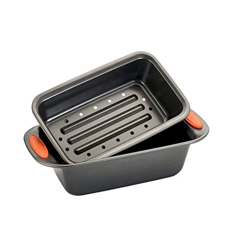 Rachael Ray Oven Lovin' Non-Stick 2-Piece Meatloaf Pan Set, Orange