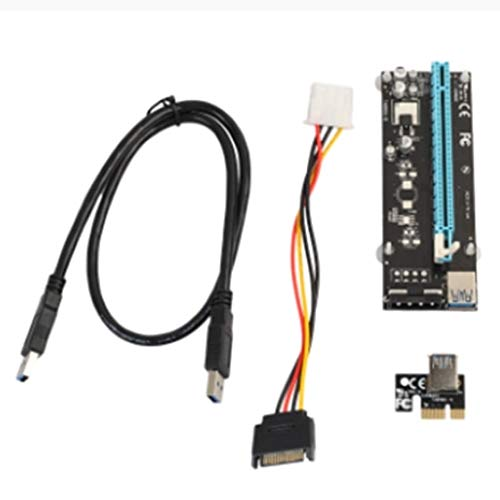 Cable Length Black Computer Cables Right Interface PCIe PCI-E PCI Express Riser Card 1x to 16x USB 3.0 Data Cable with SATA 15 Male to 4pin Power Cable Black