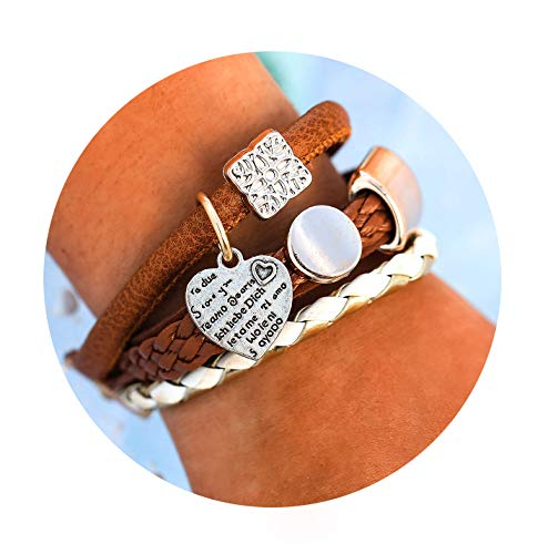 17mile Multi-Layer Heart Leather Bracelet - Braided Wrap Cuff Bangle Engrave Adjustable Handmade Charm Bracelet Jewelry for Women,Girl ()