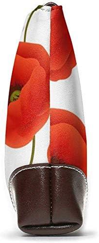 GLGFashion Portefeuille Clutch Cotton Floral Pattern Of Poppy Flowers Leather Wristlet Clutch Purses Bag Crossbody Clutch Wallet Handbags For Women