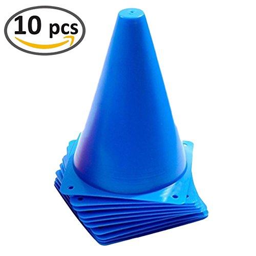 7 Inch Blue Plastic Sport Traffic Cones - 10 Pack (Traffic Plastic Cones)