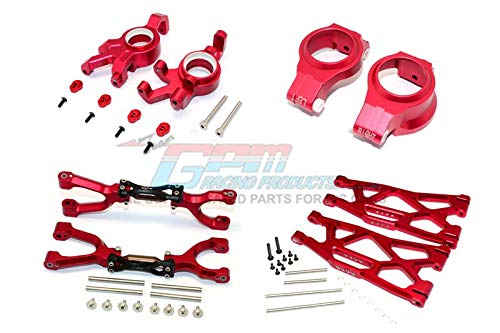 GPM Traxxas X-Maxx 4X4 Aggiornamento Parti Aluminium Front Upper + Lower Arms + C Hubs + Kncukle Arms Set - 52Pc Set Red
