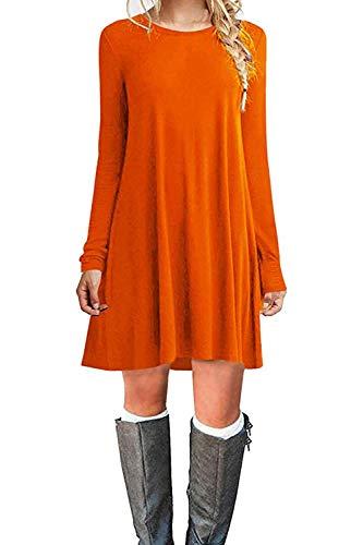 Dress Women Authentic Sweater (Women's Casual Plain Fit Flowy Simple Swing T-Shirt Loose Tunic Dress£¨Medium,Orange£)