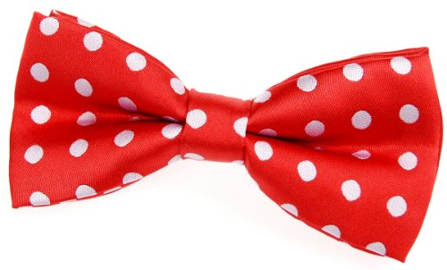 Retreez Classic Polka Dots Woven Microfiber Pre-tied Bow Tie (4.5