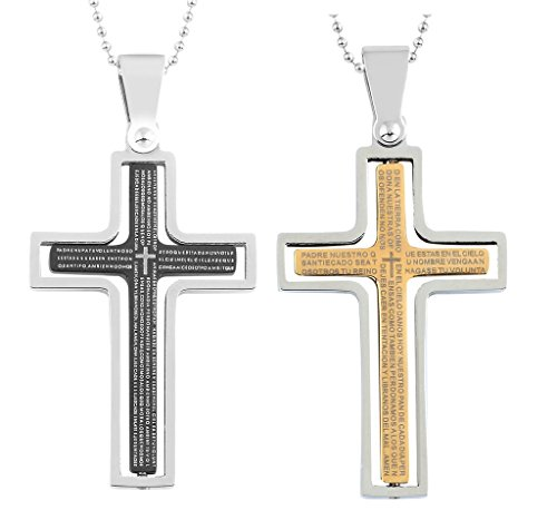 Daesar 2PCS His & Hers Matching Set Necklace Stainless Steel Lords Prayer Cross with Chain