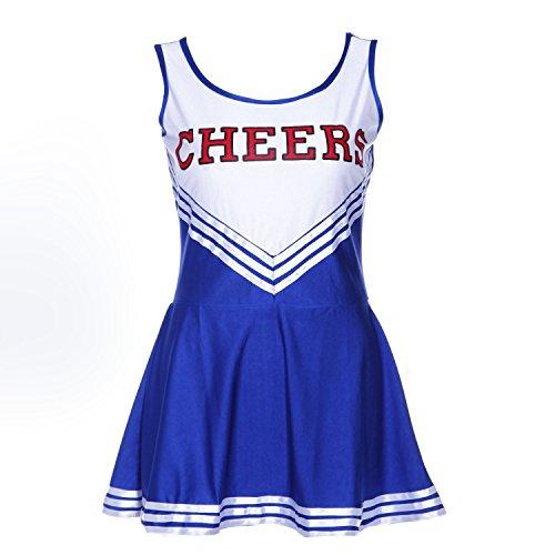 Tank top dress - TOOGOO(R)Pom-pom girl tank top dress cheer leader blue suit costume XL (42-44) school football