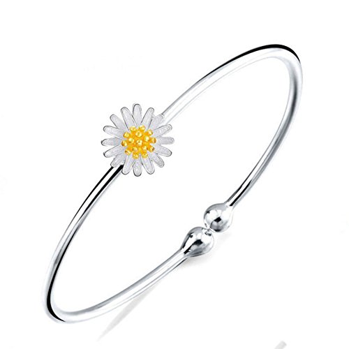 Jenny-BaBy 925 Sterling Silver Adjustable Cuff Bangle, Little Daisy Flower with Gold Plated Bud, Platinum (Daisy Silver Baby Bracelets)
