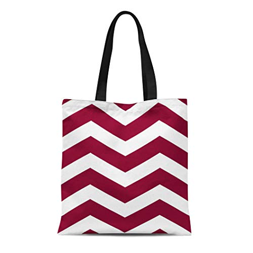Semtomn Cotton Line Canvas Tote Bag Zigzag Modern Chevron Stripes in Cranberry Red and Zig Reusable Handbag Shoulder Grocery Shopping Bags