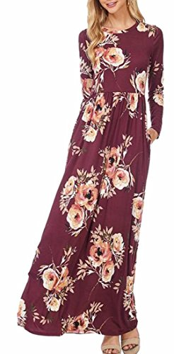 Maxi Dress Red Womens Floral Sleeve Long Jaycargogo Pleated Party Comfy Bzvw8qO0