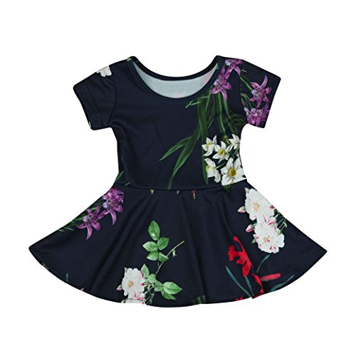 Sunscreen Baby Costume (Fabal Kids Baby Girls Toddler Floral Print Princess Cute Dress Sundress (4T, Dark Blue))