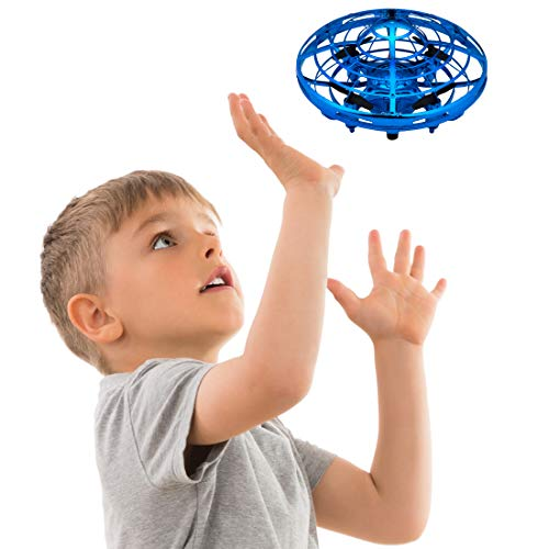 (Hand Operated Drones for Kids or Adults - Scoot Hands Free Mini Drone Helicopter, Easy Indoor Small Orb Flying Ball Drone Toys for Boys or Girls (Blue))