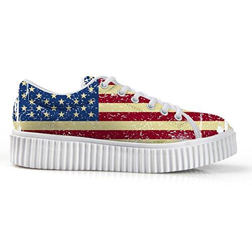 Women Walking Breathable Print Casual Women DUOLIFU Sneakers for Usa 3D Sports Shoes Girl Retro Flag qTRv0W