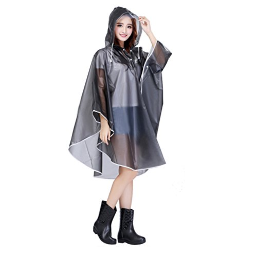 Women Packable Clear Hooded Raincoat Lightweight Travel Rain Cape Jacket Poncho