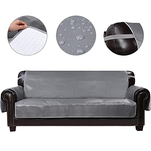 HDCAXKJ 100% Waterproof Leather Couch Cover for Dogs Anti Slip Pet Couch Covers for 3 Cushion Couch Recliner Sofa Cover for Living Room Sofa Slipcovers Furniture Covers Protector