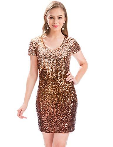 MANER Women's Sequin Glitter Short Sleeve Dress Sexy V Neck Mini Party Club Bodycon Gowns (XL, Tortilla/Brown/Syrap)
