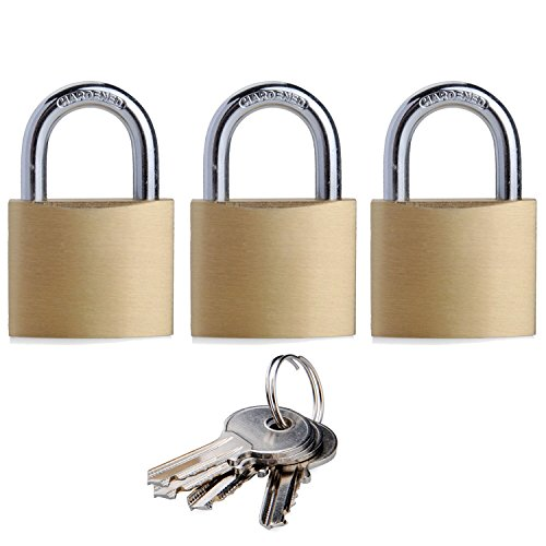 """SEPOX Solid Brass Padlock Keyed Alike with 40mm Wide Body, ¼"""" Shackle Diameter Pack of 3"""