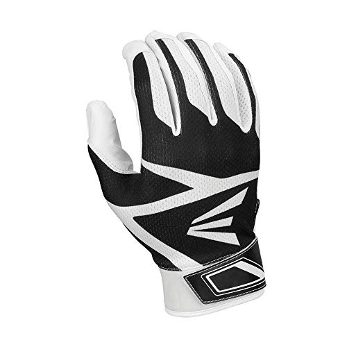 (Easton Youth HS3 Batting Gloves, White/Black, Large)