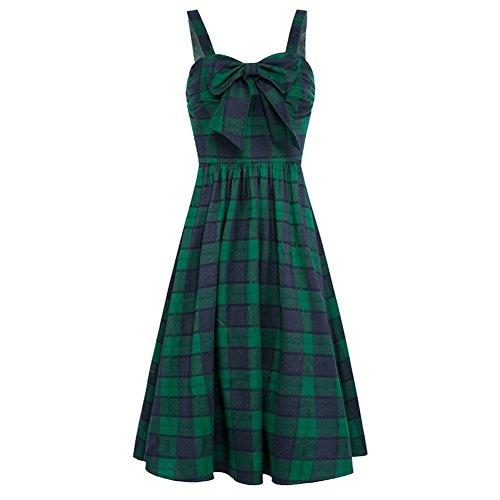 Femmes Aiskly Robes D'impression Occasionnels Arc Robe De Swing Partie À Carreaux Cou Lyq-2301