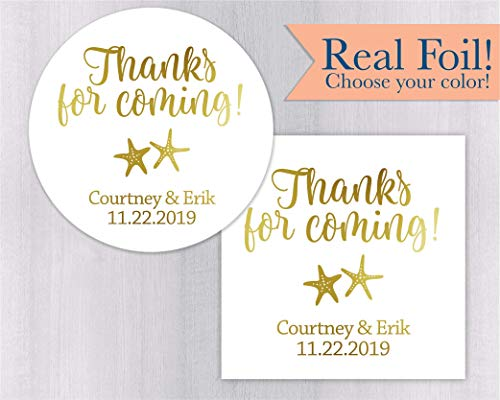 (Thanks For Coming! Starfish Ocean Theme Color Foil Favor Stickers (#552-F))