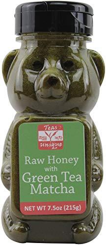 Teas Unique Organic Raw Honey with Green Tea Matcha, 7.5oz (215g)