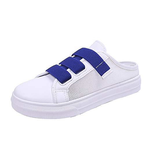 Mules Slippers Women,Mosunx Athletic 【Platform Hollow Breathable 3 Strap】Solid Half Sandals Non-Slip Flat Slingback (7 M US, Blue) ()
