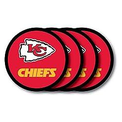 NFL Kansas City Chiefs Vinyl Coaster Set...