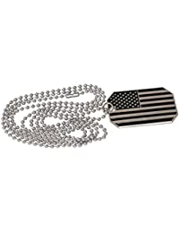 American Flag USA Patriot Freedom Stars and Stripes Dog Tag Pendant Necklace