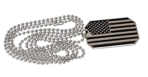 American Flag USA Patriot Freedom Stars and Stripes Dog Tag Pendant Necklace (Black/Silver Star and Stripes)